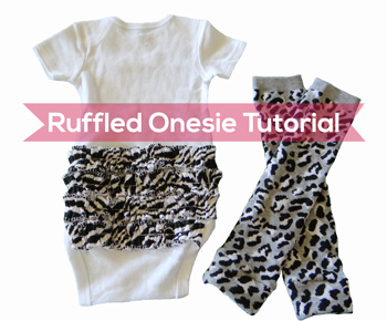 finished zebra ruffled onesie with matching legwarmers