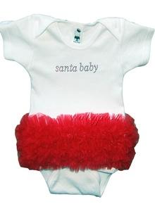 baby in santa baby onesie outfit