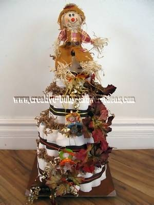 scarecrow and fall leaves diaper cake