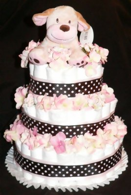 pink dog polka dot diaper cake