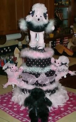 pink and black poodle diaper cake