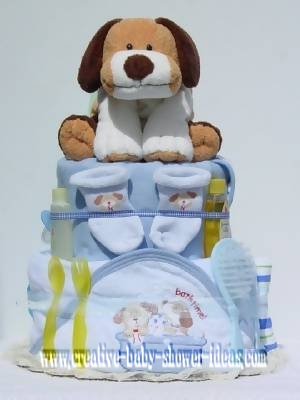 blue boy dog diaper cake