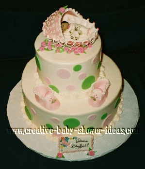 green and pink polka dot sleeping baby bassinet cake