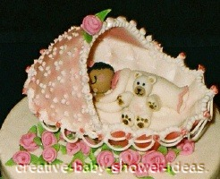 closeup of baby sleeping in a bassinet cake