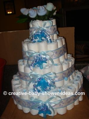 boy diaper cake with sock roses