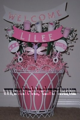 baby sock rose gift basket