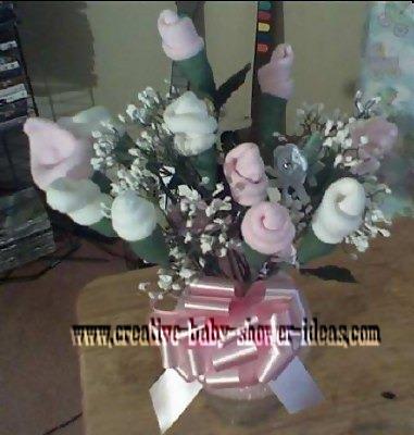top view of baby sock roses