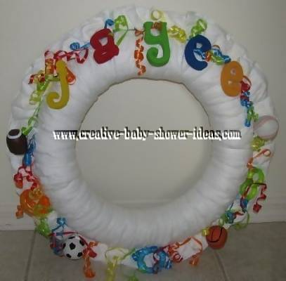 colorful sports ball diaper wreath