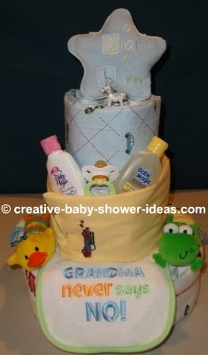 blue star and blankets diaper cake