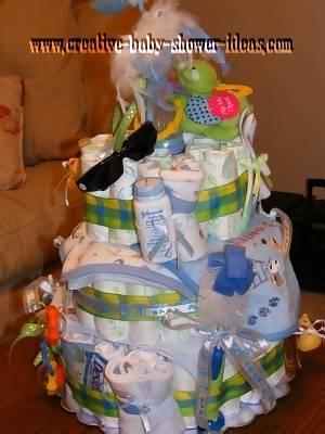 back of stork diaper cake