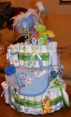 blue stork diaper cake