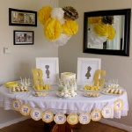 yellow and brown sweet baby gender reveal party