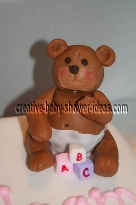 brown fondant teddy bear baby shower cake