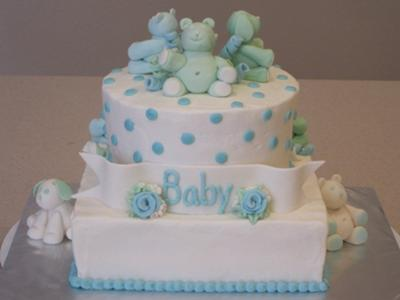 blue teddy bear baby cake