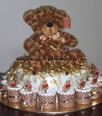 teddy bear diaper cupcakes