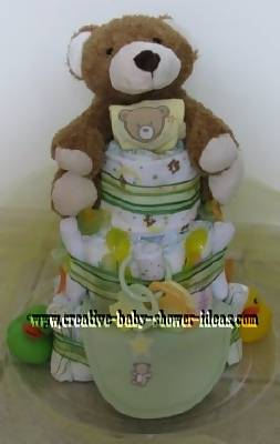 green striped teddy bear diaper cake