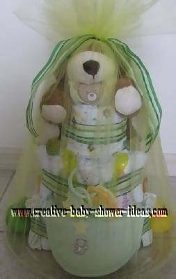 finished teddy bear diaper cake wrapped in tulle