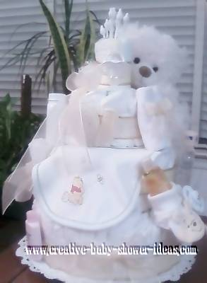cream gender neutral diaper cake