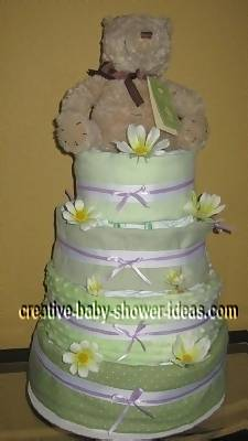 summer green and yellow blankets teddy bear diaper cake