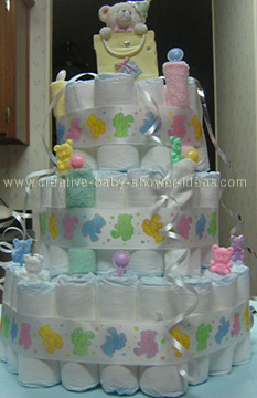 colorful teddy bears ribbon diaper cake