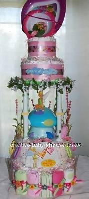 pink tinkerbell diaper cake