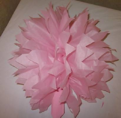 finished tissue paper pom pom