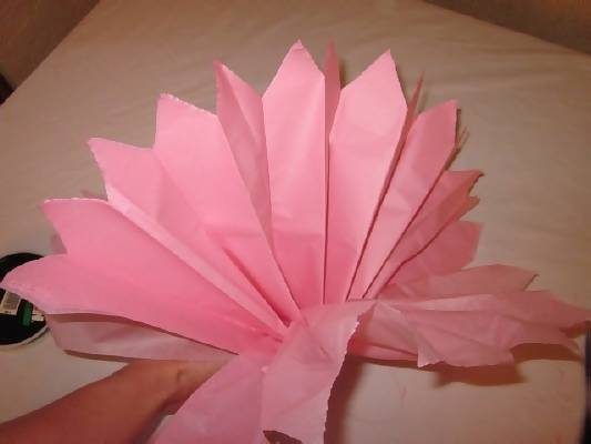 pull on end of tissue paper pom poms out