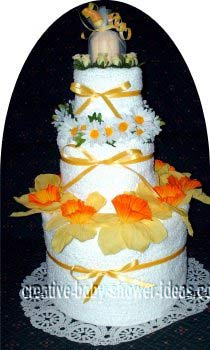 yellow daffodils and daisies towel cake