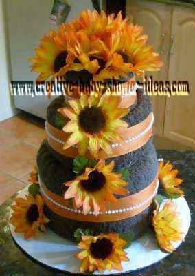 yellow and black sunflower towel cake