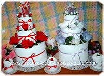 red and lavender towel cakes