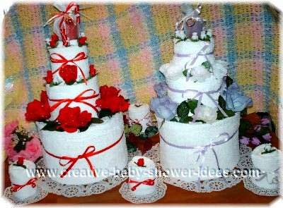 red and lavendar towel cake