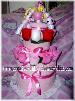 pink towel cake
