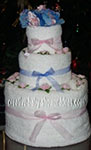 pink and bluetowel cake