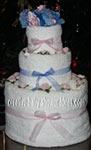 pink and bluetowel cake