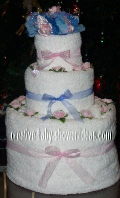pink and blue towel cake