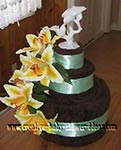 chocolate brown and green towel cake