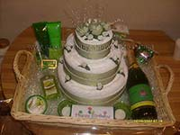 green and white celebration towel cake