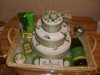 green and white celebration towel cake