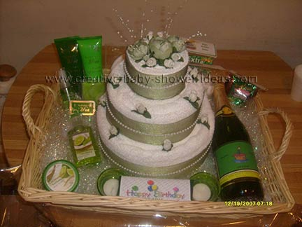 green and white towel cake