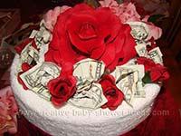 top of wedding cash towel cake