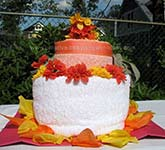 orange and red towel cake