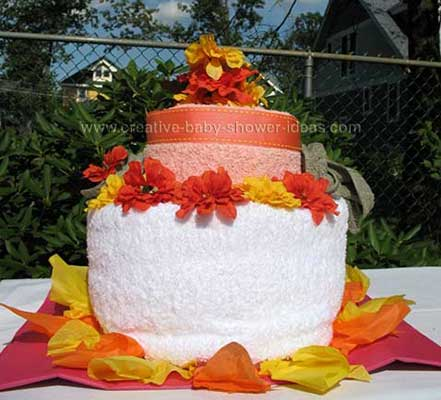 orange fall towel cake