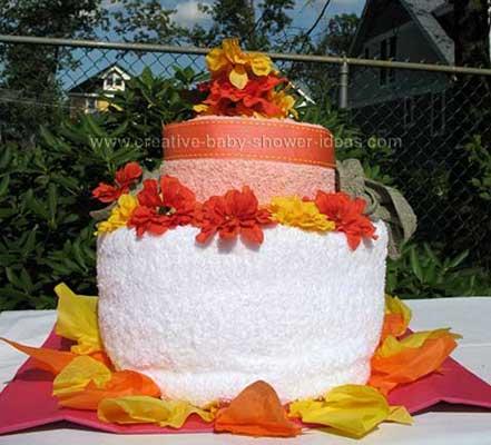 orange fall towel cake