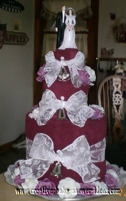 elegant wedding bells towel cake