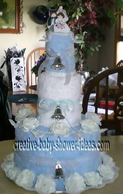 blue wedding bells towel cake