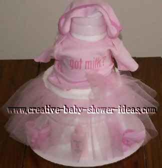 pink tutu towel cake