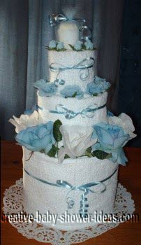 blue and white flowers towel cake