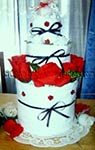 red white and blue towel cake