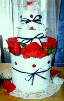 red and white towel cake