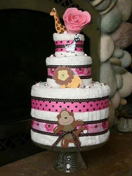 pink and black polka dot towel cake